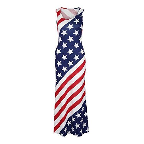 Nikuya Fashion Women Sexy American Flag Print O-Neck Sleeveless Summe Long Dress (Red, (Gap Bow)