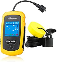 Venterior VT-FF001 Portable Fish Finder Handheld Fishfinder Fishing Gear Depth Finder with Sonar Transducer an