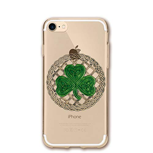 Fashion iPhone 8 Case iPhone 7 Case Shamrock Lattice and Celtic Knots On Black Scratch Proof Shock Absorption Mobile Phone Shell ()