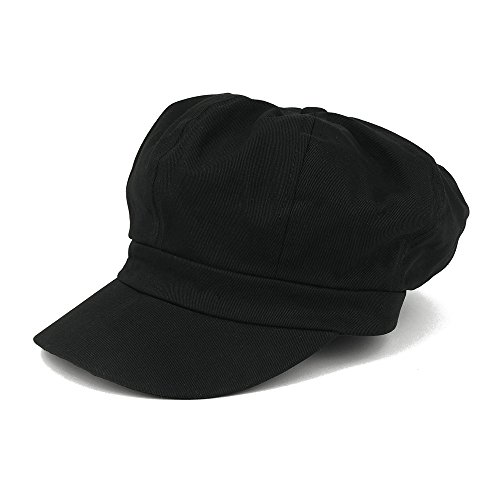 - Women's Lightweight 100% Cotton Soft Fit Newsboy Cap with Elastic Back - Black