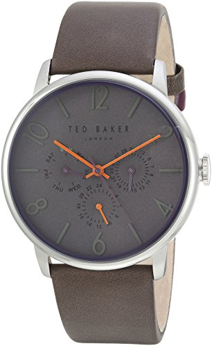 Ted Baker Men's 'JAMES' Quartz Stainless Steel and Leather Casual Watch, Color Grey (Model: TE1506603)