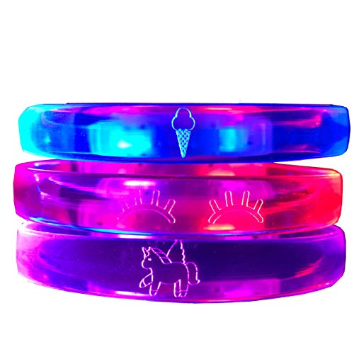 Gal Pal Shop Glow in The Dark - Unicorn Bracelets - Flashing LED - Multiple Sizes (Red/Blue/Purple, Child) -