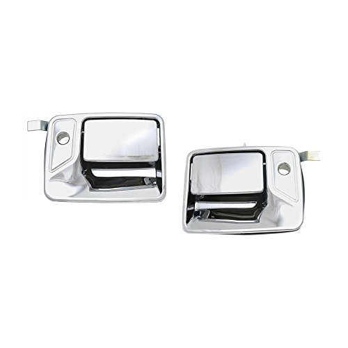 Evan-Fischer EVA18772066185 Exterior Door Handles for Set of 2 Front Left and Right Side Plastic Chrome W/Keyhole - Excursion Chrome Door Handle