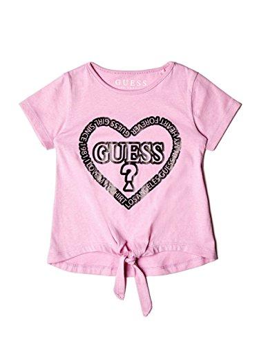GUESS Little Girls' Short Sleeve Glitter Logo T-Shirt, Melrose Lavender, 6X/7 -
