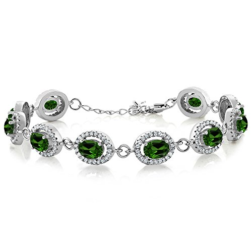 10.88 Ct Oval Green Chrome Diopside 925 Sterling Silver (Diopside Sterling Silver Bracelet)