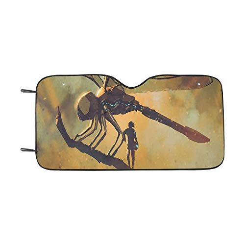 - INTERESTPRINT Dragonfly on The Branch Front Windshield Sun Shades, Accordion Folding Auto Sunshades for Car Truck SUV