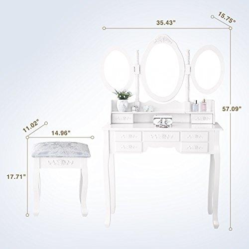 LordBee New Tri-Folding Mirror Vanity Set 7 Drawers Dressing Table Makeup Desk & Stool White Large Elegant Design Capacity Comfort for Bedroom