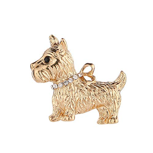 (Lovely Rhinestone Dog Animal Metal Brooch Lapel Collar Pin Fashion Jewelry Gift)