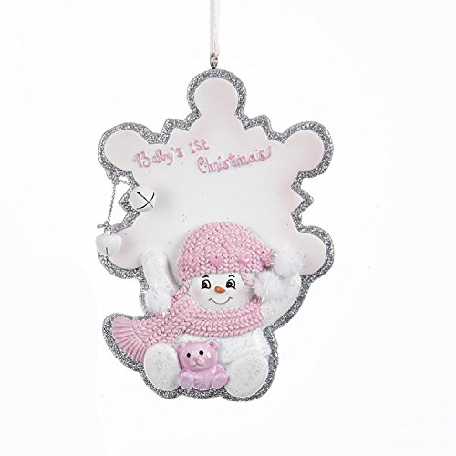 Pack of 12 ''Baby's 1st Christmas'' Snowgirl with Snowflake Christmas Ornaments for Personalization 4'' by KSA