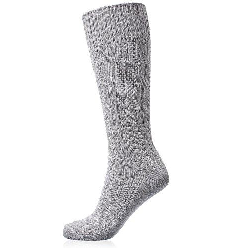Gaudi-Leathers Trachtenstrümpfe, Socken, Kniestrümpfe mit Zopfmuster in Grau (Grau 125), 45