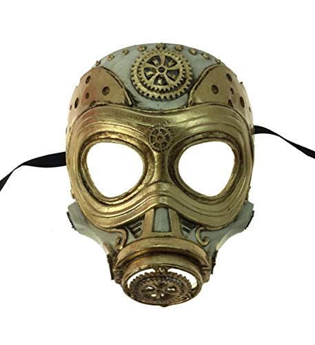 KBW Adult Unisex Steampunk Gold Gas Mask, Vintage Victorian Style Retro Punk Rustic Gothic Motorcycle Pilot Aviator Eyewear Headgear Costume Accessories]()