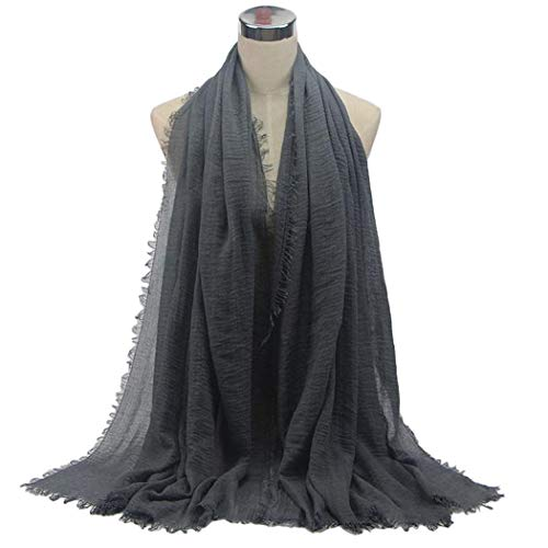 Kizaen Women Casual Wrap Solid Soft Lightweight Cotton Hemp Long Scarf Scarves Shawl