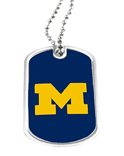 - Michigan Wolverines Dog Tag Domed Necklace Charm Chain Ncaa
