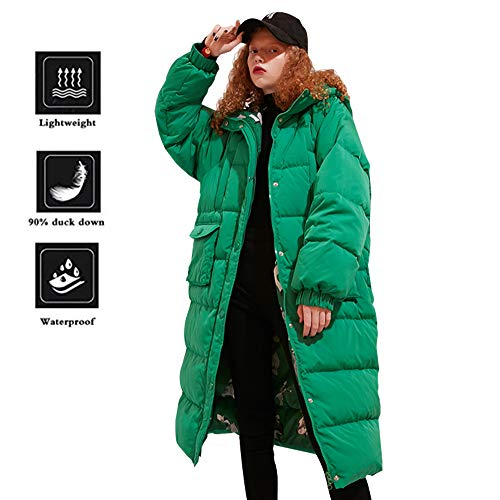 (Elf Sack Women's Long Hooded Down Jacket Winter Coat with Big Pockets Green Large)