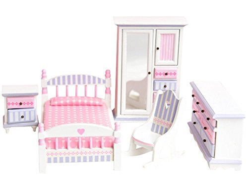 BESTLEE 1:12 Scale Girl's Wooden Pink and Blue Dollhouse Bedroom Furniture 5pcs Set