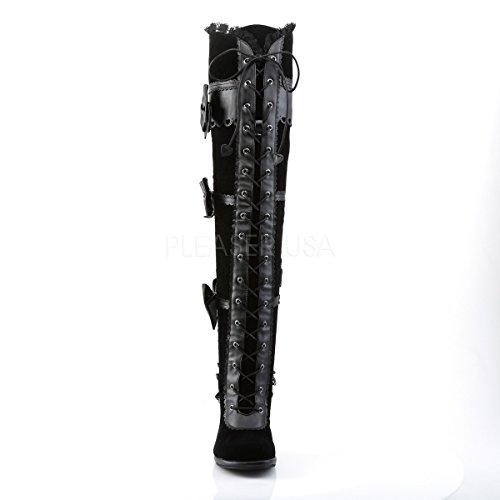 Demonia Kvinder Steampunk-knæ Støvler Med Spidse Glam-300 Sort r6Iu0C