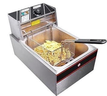 Amazon.com: Eléctrico Freidora 6L Comercial mesa acero ...