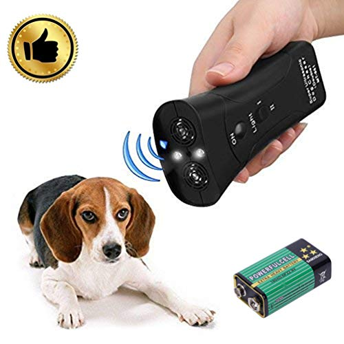 Dog Ultrasonic Trainer - Anti Barking Device Bark Control Training Aid 3 in 1 Dog Bark Deterrent Device LED Ultrasonic Dog Chaser Aggressive Attack Repeller Trainer Flashlight Effective Barking Stop Device,Waterproof Dog Outdoor/Indoor