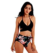 2 Pieces Bikini Set for Women Two Piece Swimsuits Cross Floral Printed Retro High Waisted Swimwear