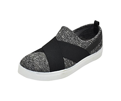 Bamboo Grandslam-44M Womens Criss Cross Lycra Sneakers Grey Knit KL2eDmdG