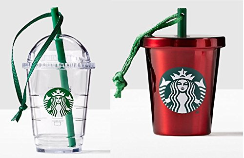 Starbucks Cold Cup Ornament Bundle: Set of 2 - 1 Clear Cold Cup, 1 Red Cold Cup (Starbucks Gift Sets Christmas)