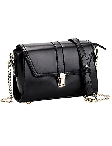 Menschwear Womens Genuine Leather Cross-body Bag Black by Menschwear