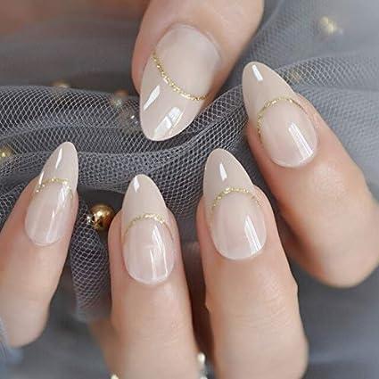 LANGMAN Uñas Postizas Nude Gold Glitter Golden Line ...