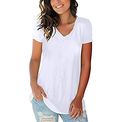 Women's T Shirts Short Sleeve V Neck Loose Casual Basic Tee Tops Summer T-Shirt at Women's Clothing store