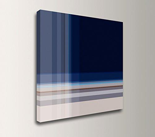 Plaid Wall Art (Minimalism Artwork - Navy Blue and Tan Plaid Canvas Wall Decor -