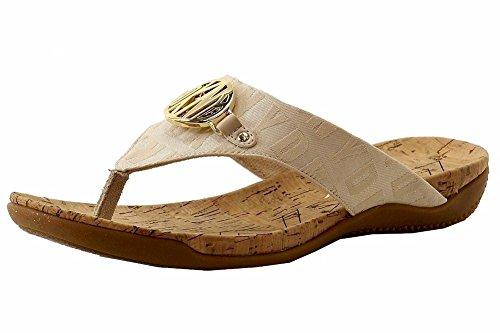 Donna Karan Dkny Womens Bianca Mote Hamp Logo Flip Flop Sandaler Sko