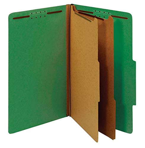 (Office Depot Classification Folders, 2 1/2in Expansion, Legal Size, 2 Dividers, 60% Recycled, Light Green, 5 pk, OM01724)
