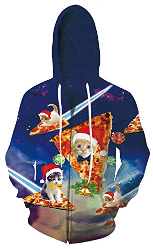 (Leapparel Men/Women 3D Hoodie Full Zip Print Graphic Sweatshirts Pullover Casual Pocket Jacket (XXL, Xmas Cats) )