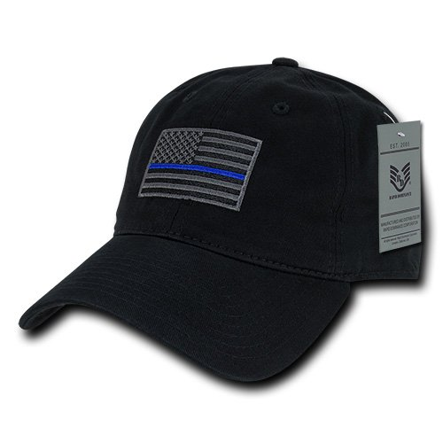 Rapiddominance A03-TBL-BLK Relaxed Graphic Cap, Thin Blue Line, Black from Rapid Dominance