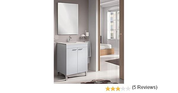 SERMAHOME- Conjunto de Baño Modelo Classic. Mueble de Lavabo + Espejo + Lavabo. Color Blanco Brillo.: Amazon.es: Hogar