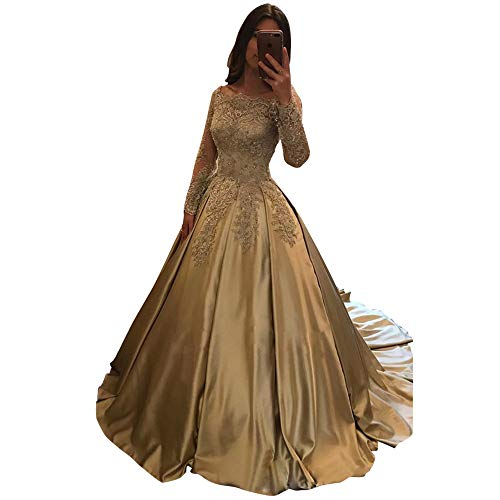 Abaowedding Women's Lace Applique Prom Dress for Weddings Bride Beaded Strapless Long Sleeves Evening Ball Gowns Champagne US 14