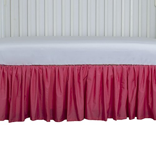 Hot Pink Dust Ruffle for Crib 15 inch long Cribskirt, Gathered