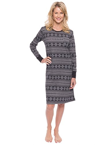 (Noble Mount Women's Waffle Knit Thermal Sleep Dress - Snowflake Bands - Navy/Grey - X-Large)