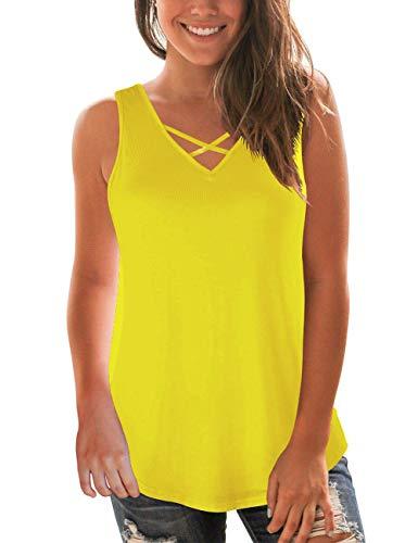 Women's Basic Tank Tops Sleeveless Criss Cross Solid Summer T-Shirt Yellow S
