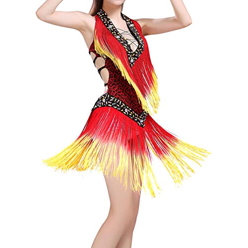 MacRoog Latin Dance Highlights Tassel Dress Belly Dance Costumes Dancewear Clothes V-Neck Backless