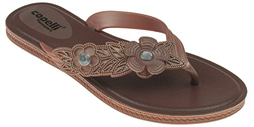 Capelli New York Ladies Flip Flop with Jelly Flowers and Padded Sole. Rose Gold 8