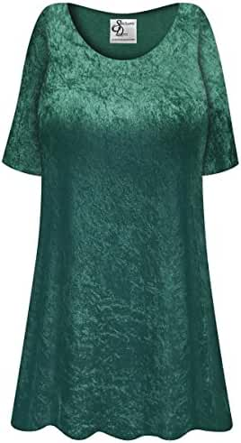 Green Crush Velvet Plus Size Supersize Extra Long A-Line Top