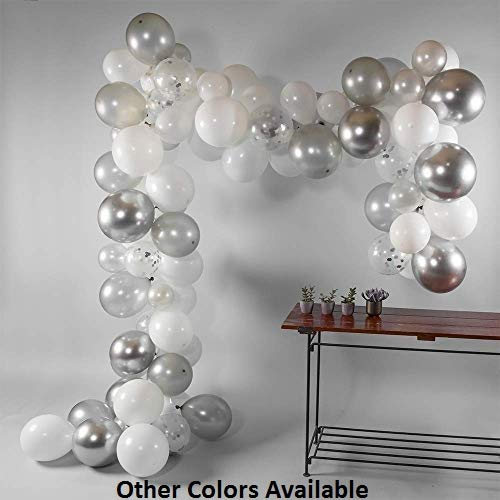 Fabu.Luxx Balloon Arch & Garland Kit | All-Inclusive | 90 Metallic Silver, Grey, White & Confetti Latex Balloons | Bonus Air Pump + Tying Tool | DIY | Birthday, Graduation, Wedding, Anniversary]()