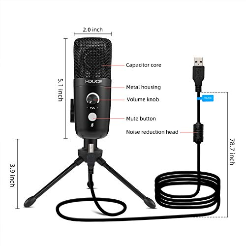 USB Plug&Play Condenser Microphone, FDUCE Professional Studio PC Mic with Tripod for Gaming, Streaming, Podcast, Chatting, YouTube on Mac & Windows(Black)