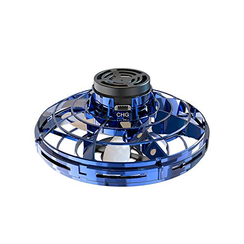 Flynova Flying Toy, Upgraded Stress Relief UFO DroneToys Hand Operated Drones Mini Drones Hobby Toys Mini Drone Helicopter toy with 360°Rotating and Shinning LED Lights Gifts for Kids and Adult (Blue)