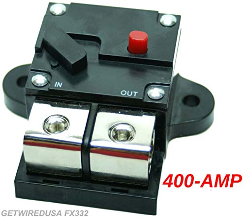 0-Gauge 400-Amp Circuit Breaker Heavy Duty Pro Car Audio Marine, Auto Trip Manual Reset Fuse, Fits 0 AWG Wire 0G Cable. FX332-400A