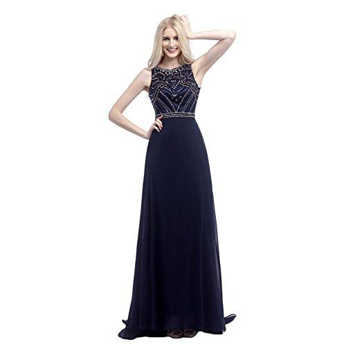 Datangep Women's Beaded Applique Empire Long Chiffon Prom Dress Navy Blue US12