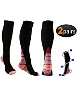 2 pair Compression Socks (20-30mmHg) by REEHUT For Men & Women - For Running, Nursing, Medical, Athletic, Edema, Flight Travel, Pregnancy and Shin Splints (Black & Pink, S/M)
