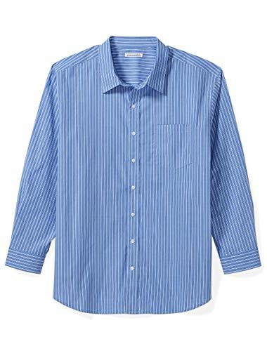 Amazon Essentials Men's Big & Tall Long-Sleeve Stripe Casual Poplin Shirt fit by DXL, Blue, 2XLT ()