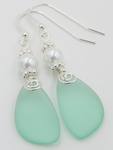 Sea Foam and Pearl, FREE GIFT WRAPPING, Sea Glass Earrings, Mint Earrings, Christmas gift for her, Dangle Earrings, Sterling Silver Earrings, Pearl Earrings, Pearl Jewelry