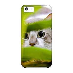 Flexible Tpu Back Case Cover For Iphone 5c - The Cat In The Grass Hunting